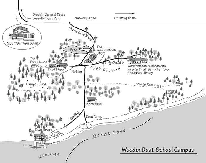 WoodenBoat School campus map