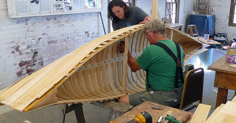 Wood and canvas canoe construction
